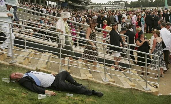 Don't be like this guy at Ascot and drink to excess where you miss all the top-class racing!
