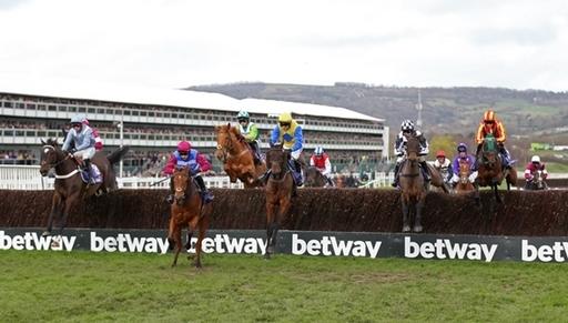 Horses stream over a fence at the 2020 Cheltenham Festival