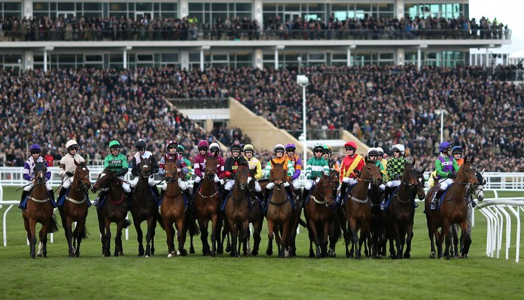 A full field of runners line up at the start of the Cheltenham Festival