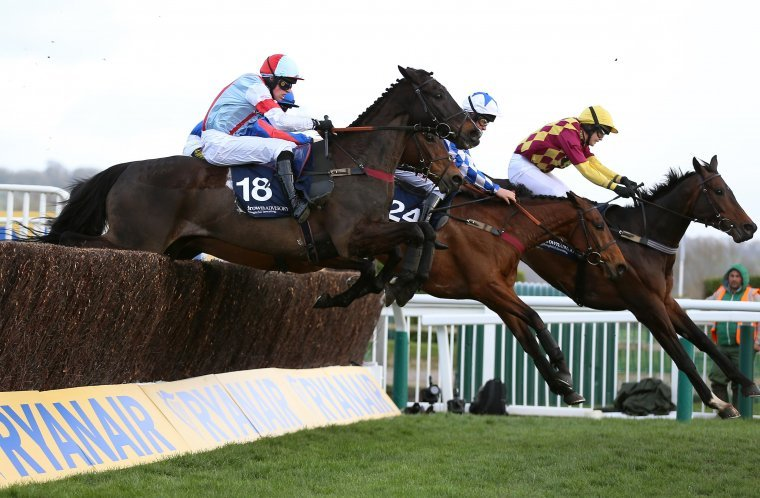 The runners leap a fence during the 2019 Paddy Power Plate.