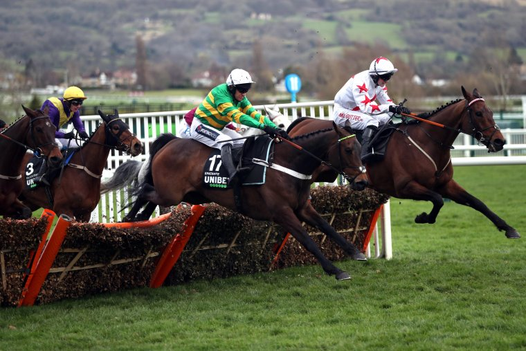 Epatante (centre) clears the last on her way to winning the 2020 Champion Hurdle.