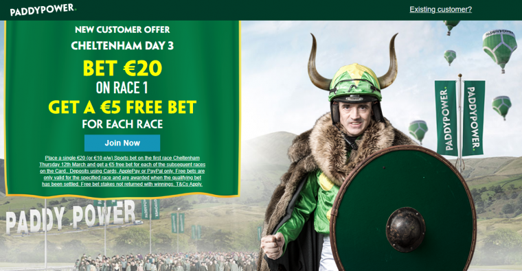 Paddy Power day three bet through the card