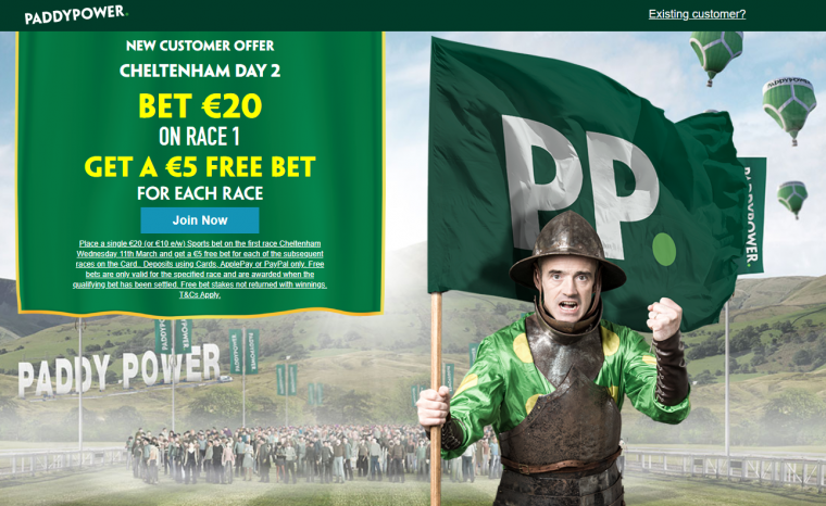 Paddy Power day two bet through the card