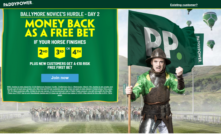 Paddy Power money back 2nd 3rd 4th special