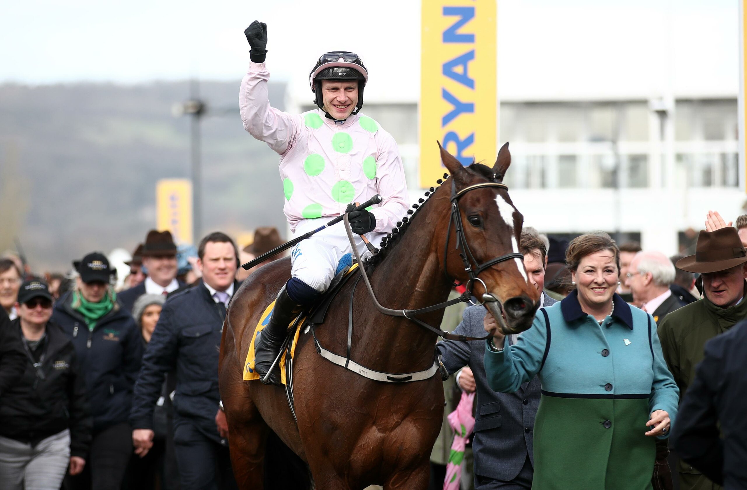 Paul Townend celebrates after Min won the 2020 Ryanair Chae