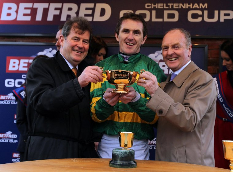 JP McManus celebrates Gold Cup victory alongside Tony McCoy and JP McManus