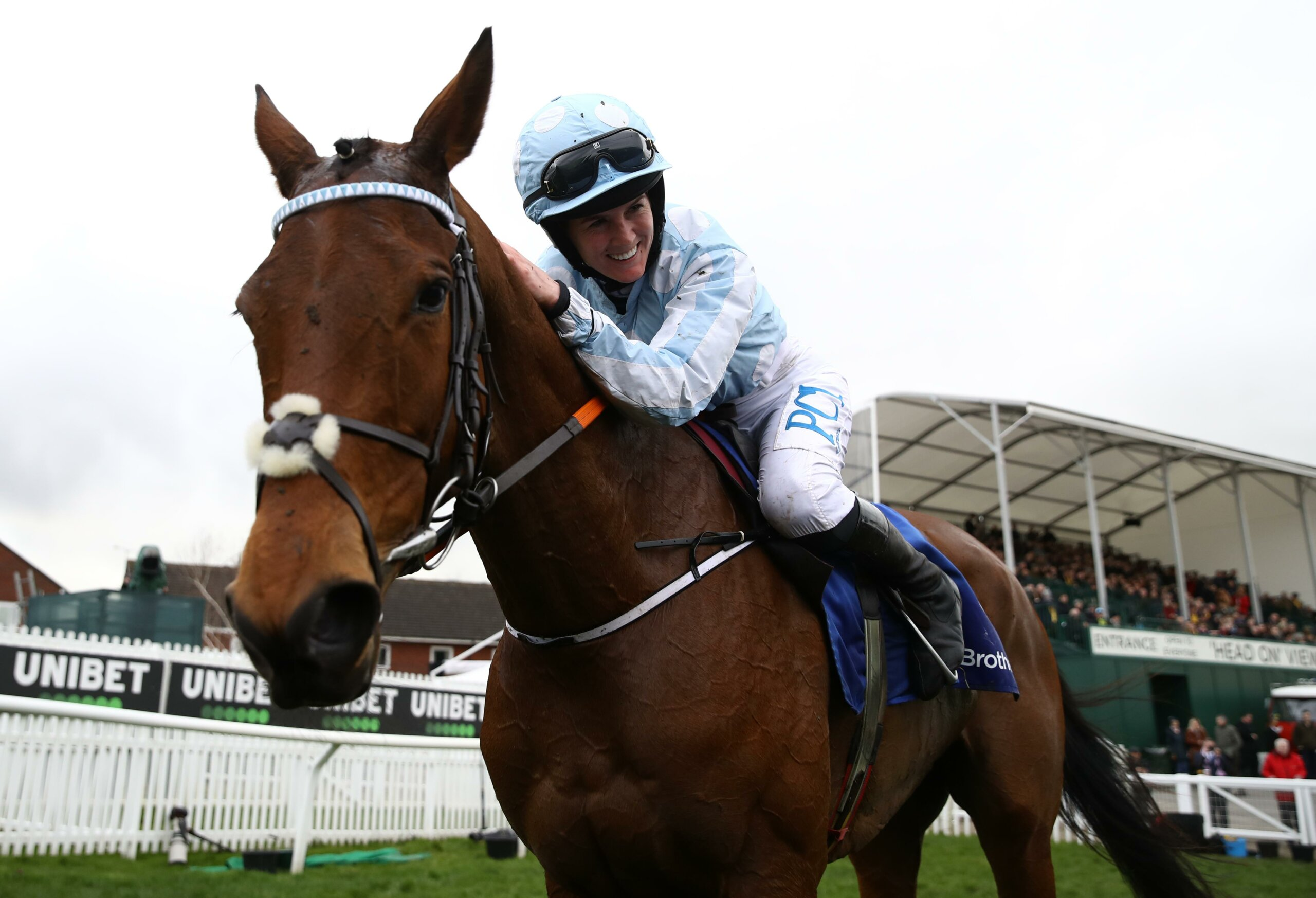Rachael Blackmore celebrates victory aboard Honeysuckle in the Mares' Hurdle at Cheltenham in 2020